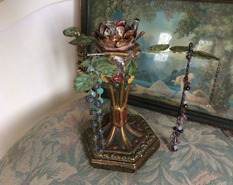 Salvaged Jewelry Display Stand, Candle Holder, One of a Kind, Made from Antique and Vintage Salvage