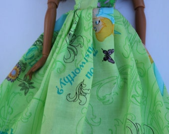 11.5 inch dolls clothes- Tinkerbell barbie gown (59)