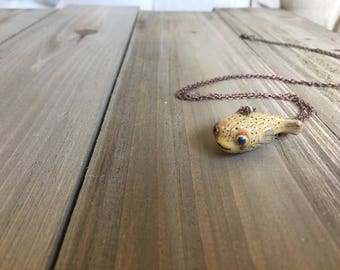 "Puffer Fish Necklace - Long Necklace - Made To Order in 26"" Antique Copper or Silver Chain"