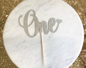 One cake topper, number cake topper, first birthday cake topper