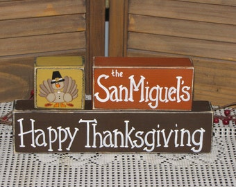 Personalized Thanksgiving wood blocks Primitive farmhouse country shelfsitter sign
