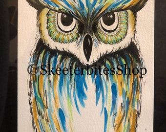 Watercolor Owl Original  NOT A PRINT