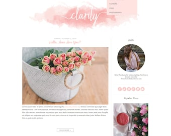 """Premade Blogger Template - Simple and Clean Blog Design - Blogspot Template - Watercolor Blogger Template - """"CLARITY"""""""