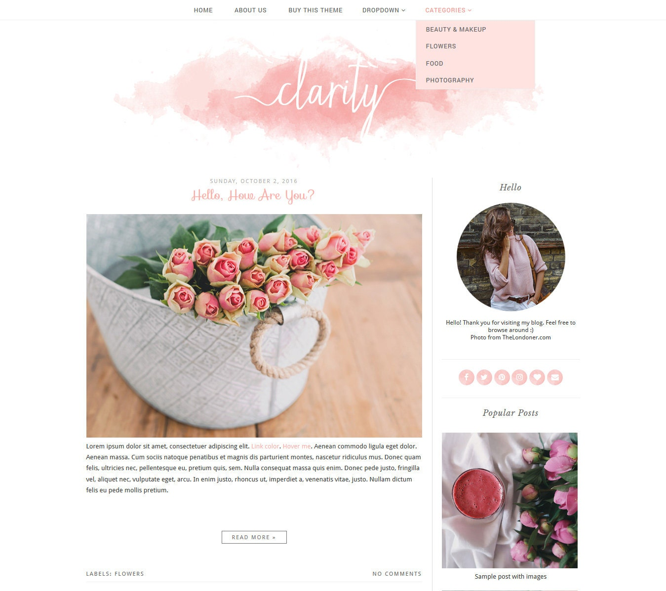 Premade Blogger Template Simple and Clean Blog Design