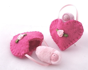 Bright pink heart ornament  hand embroidered waldorf decor valentine sweetheart HOBP1