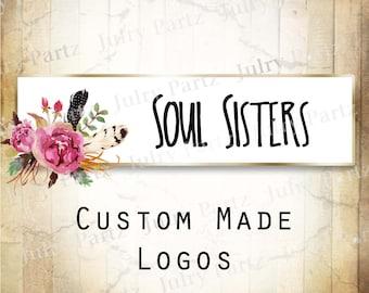 LOGO in Purple Posie SOUL Sisters•Premade Logo•Jewelry Card Logo•Flower Logo•Custom Logo•Shop Logo