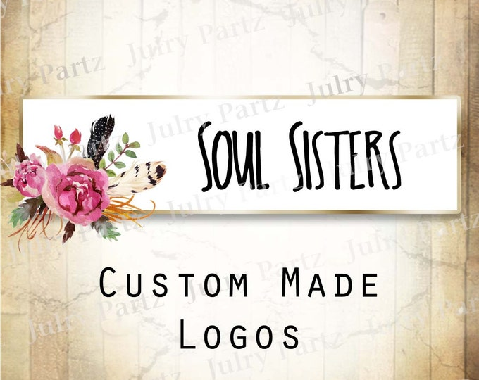LOGO in Purple Posie SOUL Sisters•Premade Logo•Jewelry Card Logo•Flower Logo•Custom Logo•Shop Logo