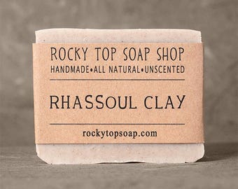 Rhassoul Clay Soap -  All Natural Soap, Handmade Soap, Unscented Soap, Cold Process Soap, Vegan Soap
