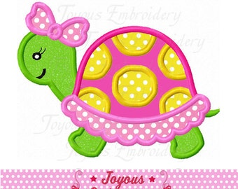 Instant Download Girl Turtle Applique Embroidery Design NO:2292