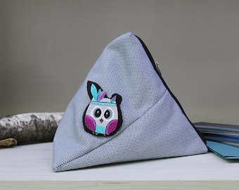 Triangle Accessory Bag & Brooch, Makeup bag, Cosmetic Bag, Owl Pin, Owl Brooch, Owl Jewelry, Bike pin, Wooden Brooch, Pouch, Wooden pin