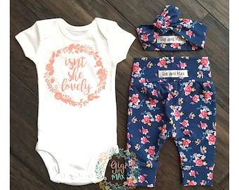 Newborn Baby girl coming home outfit Navy Isn't she Lovely, Navy Floral theme hello world baby girl shower gift coming clothing gift