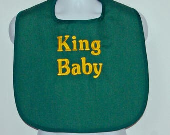 Custom Funny Adult Baby Bib, Canvas, Clothing Cover Up Protector, Personalized With King Baby, No Shipping Fee, Ships TODAY AGFT 1043