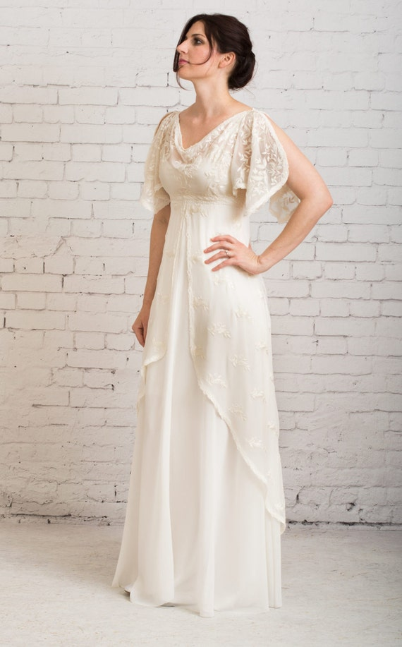 Nice Casual Wedding Dress, Simple Wedding Dress, Rustic Wedding Dress, Vintage  Wedding Dress, Wedding Dress With Sleeves   Athena Gown Design