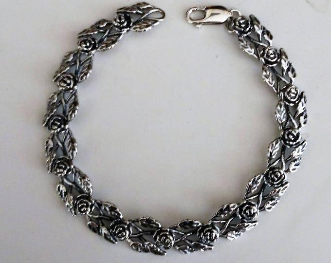 Rose Link Bracelet in Sterling Silver made to order