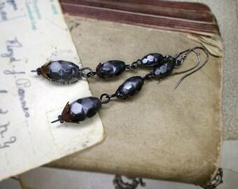 Beaded Drop Earrings - Rustic Plastic, Steel Assemblage - Vintage West German Plastic Beads - Iridescent Faceted Grey - Long Beaded Earrings