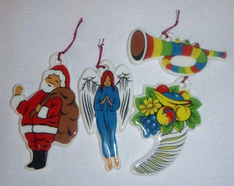 Coalpart Bone China Christmas Tree Ornaments from the 1970s, Set of 4 Pieces, Bright Colors and Shine, Includes Santa and Angel Ornaments