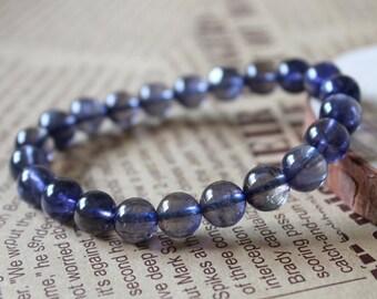 Genuine Iolite Bracelets, Natural Iolite Gemstone Beads, Iolite Round Beads 8MM, AA Grade Healing Stones