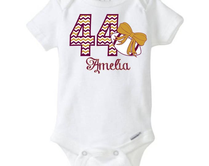 """Personalized Baby Girl's Football Onesie One-piece body suit with """"Chevron"""" Number, Name, and Print Color of your choice"""