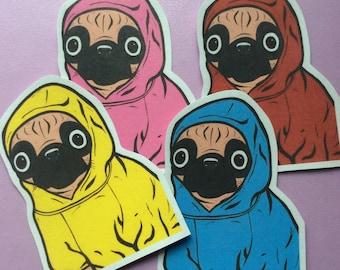 Small Pug Hoodie Sticker Pack