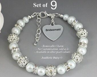 Set of 9 Bracelet Pearl Jewelry Bridesmaid Gift Bridesmaid Bracelet Bridesmaid Jewelry Bridal Party Jewelry Wedding Jewelry