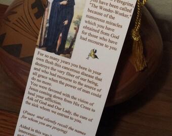 BOOKMARK  Prayer to Saint Peregrine Laminated Bookmark  with Tassel / Saint Peregrine - The Cancer Saint