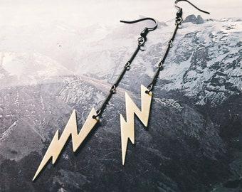 Lightning bolt earrings  - brass dangle earrings