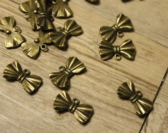 set of 10 vintage brass bow charms bronze 1, 9 * 1, 1 cm