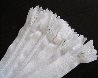 8 inch White YKK  Zippers - Set of 24 pcs - Color number 501