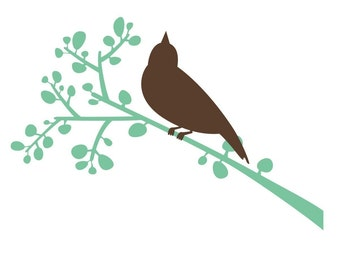 Bird on Berry Branch wall decal