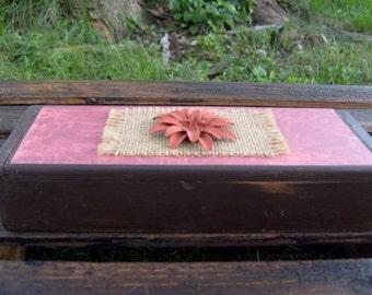 Shabby Chic Wood Trinket Box, Jewelry Box, Storage Box, Burlap Decorative Box, Rustic Jewelry Box, Decorative Storage Box, Trinket Box