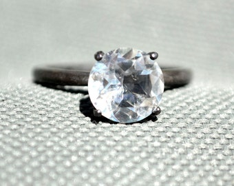 White Topaz Ring, Silver Solitaire Ring with Blackened Patina, Diamond Alternative Engagement Ring, April Birthstone. Bridesmaids Gifts