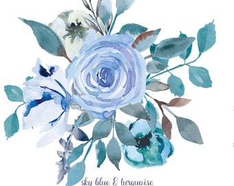 Watercolor Flower Clipart One Arrangement Hand Painted Flowers Wedding Diy Clip Art PNG File Commercial Use