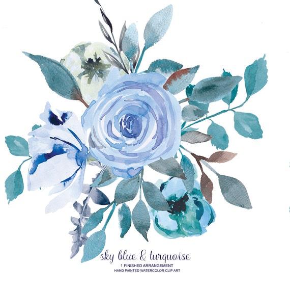 Watercolor Flower Clipart e Arrangement Hand Painted Flowers