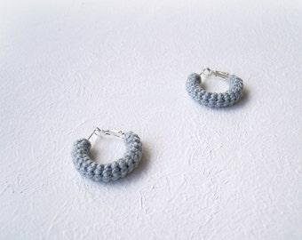 Pearl Grey Earrings, Mini Crochet Tube Hoops, 20 mm hoops, larva hoop earrings