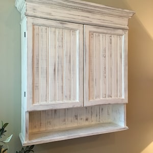 Attirant Distressed White Cabinet, Bathroom Cabinet, Kitchen Cabinet, Hanging Wall  Cabinet, Shabby Chich
