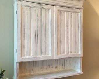 Distressed White Cabinet, Bathroom Cabinet, Kitchen Cabinet, Hanging Wall  Cabinet, Shabby Chich
