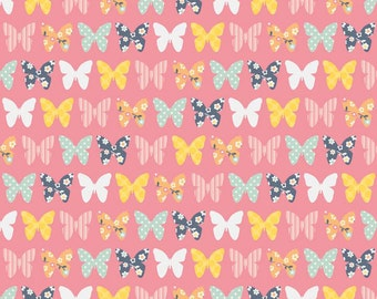 A Beautiful Thing,  Butterfly in pink , by Riley Blake, yard