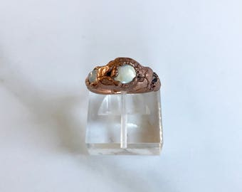 Electroformed // Freshwater Pearl and Gemstone Ring
