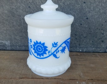 Vintage Milk Glass Condiment Mustard Jar with Lid, White with Blue Sweet Pea Pattern