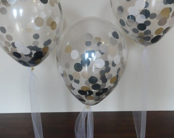 """3, 6, or 10 Count: Large 16"""" Confetti Balloons with White, Silver, Black, & Gold Confetti- Gatsby, Graduation, Wedding, Shower, Birthday"""