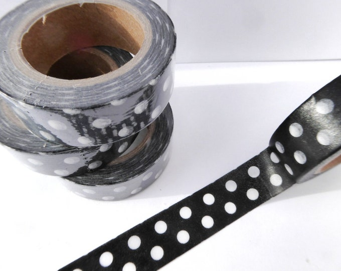 Polka Dot Washi Tape in Black and White - Paper Tape Great for Scrapbooking Paper Crafts and Decorations and Celebrations 15mm x 10m