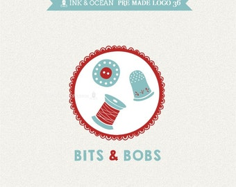 Boutique premade logo design for your business -  sewing, pin cushion, crafts, BUTTONS, THREAD logo