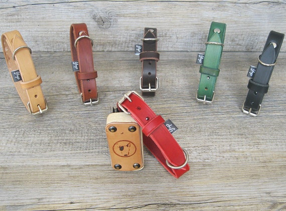Red Dog Collar, Leather Dog Collar, Classic Dog Collar, Handmade Dog collar, Colorful Dog Collar, Custom Dog Collar, Durable Dog Collar