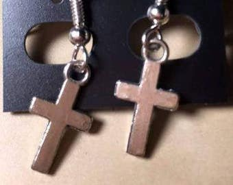 Handcrafted Silver Accented Miniature Cross Dangle Earrings for Pierced Ears, Faith Inspired