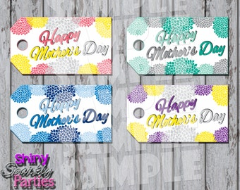 MOTHER'S DAY GIFT Tags, Flowered Mother's Day Tags, Diy Mother's Day Gift Tag, Mom's Day Tags, Mom, Printable, Happy Mother's Day