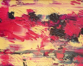 Red and Black Abstract original Painting in Black Mat