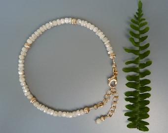 White Sapphire Bracelet, Gemstone Stacking Bracelet, Gemstone Layering Bracelet, Stackable Bracelet, Bridal Bracelet, September Birthstone