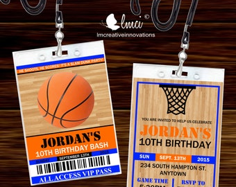 Basketball VIP Invitation, Basketball VIP Pass, Sports VIP Badge