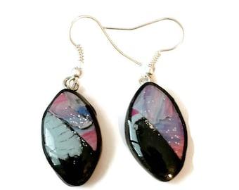 Unique polymer clay earrings, modern earrings,Handmade,Drop earrings,