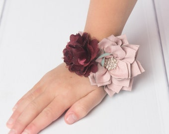Burgundy Wedding corsage mauve corsage, wrist corsage, prom corsage mommy to be corsage bracelet, grandma to be, mother of the bride corsage